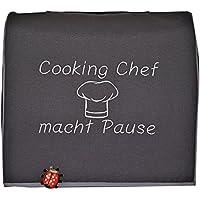 Abdeckhaube, Kenwood, Cooking Chef® KM 096,..Mod. Cooking Chef macht Pause, Dkl.-grau, .Stickerei, Schutzhaube, Husse, Cover, Kochmütze,
