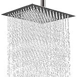 Pommeau de douche carré à encastrer avec 100 buses anticalcaire polies effet miroir brillant 20 x 20 cm