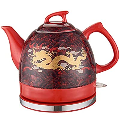 Électroménager Bouilloire en céramique, 1 litre, Rouge avec imprimés, design original, 1200 W, Coffee & Tea Théière Électrique sans Fil Céramique Émaillée