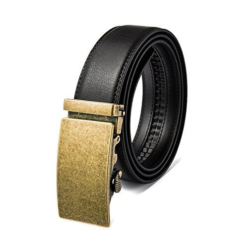 AITEE Adjustable Men's Genuine Leather Cowhide Leather Belt, Automatic prismatic buckle, Gold, Waist Size 34-36