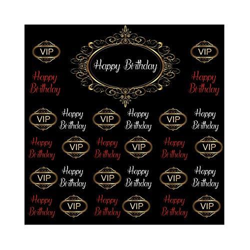 Cassisy 1,8x1,8m Vinyl Geburtstag Fotohintergrund Alles Gute ZUM Geburtstag Banner VIP Brief Schwarze Tapete Logo Fotoleinwand Hintergrund für Fotostudio Requisiten Party Baby Kinder Photo Booth (Anpassen Banner Geburtstag)