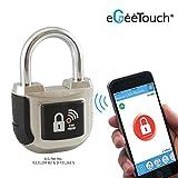 eGeeTouch Intelligentes Vorhängeschloss, 2. Generation,  mit patentierten Dual-Bluetooth + NFC-Technologien für Smartphones & Smartwatches, Silberfarben