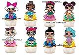 Ensemble de 30décorations en papier comestible pour gâteaux à l'effigie des poupées LOL