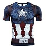 HOOLAZA 2019 Captain America Männer Kurzarm Kompression Herren T-Shirt Fitness Sport Gym