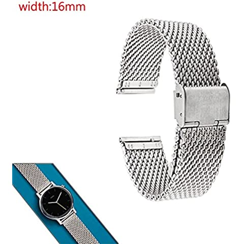 GOOQ Metal Stainless Steel 16mm Mesh Watch Band for Moto 360 2nd Gen 42mm (Female) and Any 16mm Flat Lug Normal Watches (Silver)