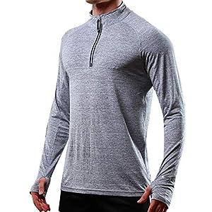 ZIYOU Langarm T-Shirts Herren Männer Regular fit Muskel Hemden Beiläufige Rollkragen Langarm Oberteile Einfarbig/Freizeit Strecken Pullover