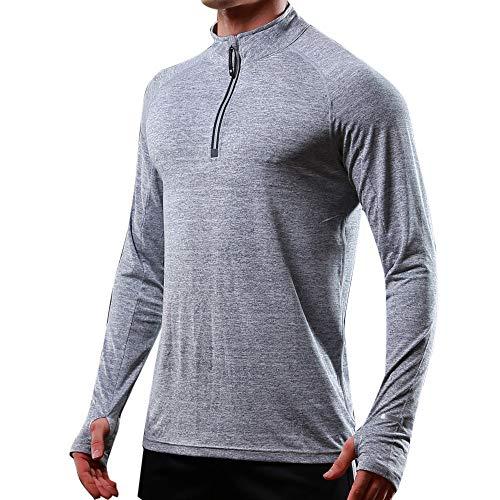ZIYOU Langarm T-Shirts Herren Männer Regular fit Muskel Hemden Beiläufige Rollkragen Langarm Oberteile Einfarbig/Freizeit Strecken Pullover (Grau,EU-50 / CN-XL)