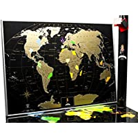 Carte du Monde à Gratter – de Qualité Premium Argent Deluxe Edition - Poster Planisphère à Gratter Personnalisé