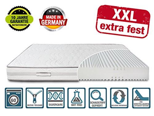 DIREKT VOM HERSTELLER - MADE IN GERMANY Matratze XXL Härtegrad 4 (H4) bis 150kg Höhe 23cm   extra hart   mit SilverCare Borderbezug  Klimaband für beste Belüftung   hochwertig (140 x 200 cm)