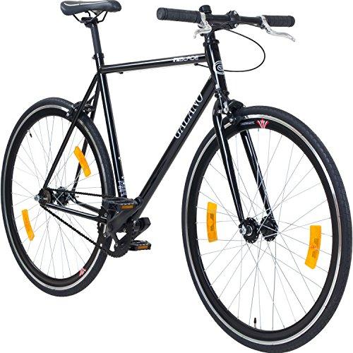 Galano 700C 28 Zoll Fixie Singlespeed Bike Blade 5 Farben zur Auswahl, Rahmengrösse:56 cm, Farbe:schwarz/schwarz
