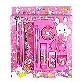 9PCS/set simpatico cartone animato penna righello materiale scolastico cancelleria set regalo per bambini, colore: Rosa