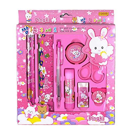 9/Set CUTE CARTOON Pen Lineal Schulbedarf Stationery Set Geschenk für Kinder pink