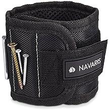 Muñequera magnética para tornillos clavos y otros objetos metálicos - pulsera magnética con 5 imanes fuertes - wristband magnético negro y gris