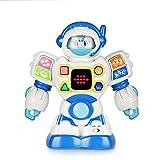 Happkid Robot de Aprendizaje Bilingüe Ingles Espanol Juguete de Aprendizaje Bebé Aprendizaje de Letras, Números y Formas 4 en 1