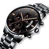 Relojes de Hombre Relojes de Pulsera Military Impermeable Negocios Diseño Lujo de Acero Inoxidable Negro Reloj para Hombres Cronógrafo Calendariode Analógico