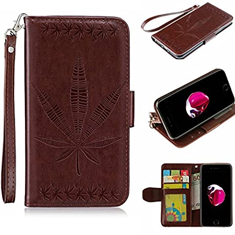 iphone 7 Case, iphone 7 Cover, iphone 7 Flip case,iphone 7 Case Leather [Lanyard], Cozy Hut Elegant Maple Leaf Patterned Embossing PU Leather Stand Function Protective Cases Covers with Card Slot Holder Wallet Book Design Fordable Strap Case for iphone 7 4,7
