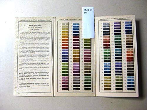 Indanthrenfarben auf Kunst-Stickseide. Färbe-Verfahren für 10 kg Kunstseite in 300 Liter Flotte. -