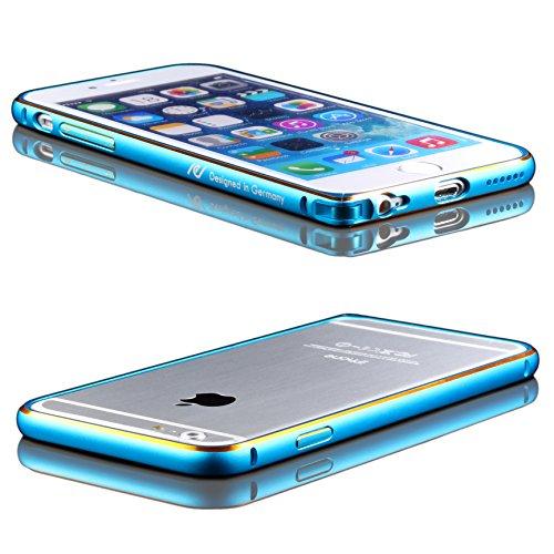Original UrCover® Aluminium Bumper für das Apple iPhone 6 / 6S Alu Schutzhülle Zubehör Hülle Schale Blau Klickverschluß Blau