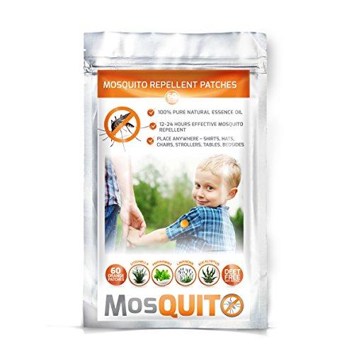Repelente de mosquitos–Parche paquete 60–Natural, no tóxico, deet free–24H protección 100% puro aceite esencial–el compañero ideal para exteriores