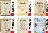 Urkunde persönliche Geschenk Karte zum Geburtstag Jubiläum Pergament div. A4 Papier Motive -