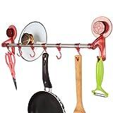 HOKIPO® Suction Kitchen Hook Rail wit...