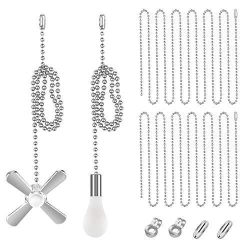 Dreamtop Deckenventilator Pull Chain Set inkl. 2 Stück 13,6 Zoll Lüfter & Glühbirne Form Zugketten 3 Fuß 3,2 mm Perlen Extensions mit Verbindern für Decken-Lüfterkette Silber