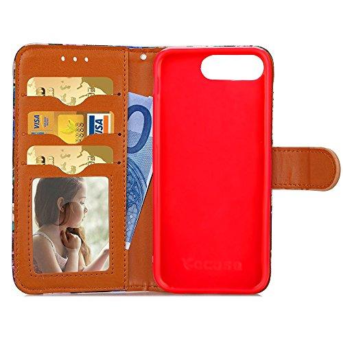 iPhone Case Cover Weiche TPU Abdeckung Qualität PU-Leder-Kasten, bunter Punkt-Muster-Mappen-Standplatz Fall Foto-Fenstertasche für Apple IPhone 7 plus ( Color : Blue , Size : IPhone 7 Plus ) Red