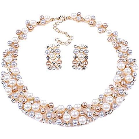 Qiyun Varias Filas De Perlas Cadena Del Babero Torsade De Cuentas Pendientes Collar Collar De Gargantilla