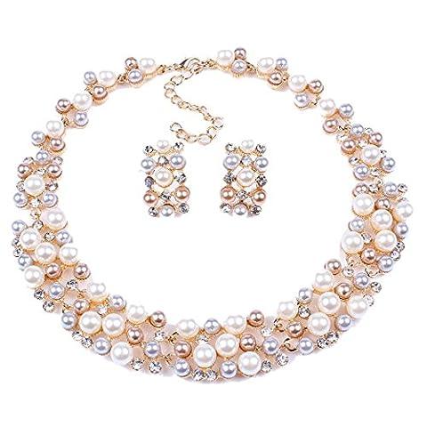 Multi-Row Strand Pearl Beaded Torsade Bib Choker Collar Necklace Earrings (Piccola Torsione)