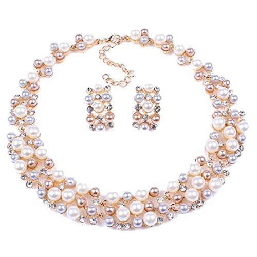 Qiyun-ehrzeilen-Strang-Perle-Perlen-Torsade-Bib-Chokerkragenhalskette-Ohrringe-Se-Halskette-Anhnger-Halsketten-Ketten