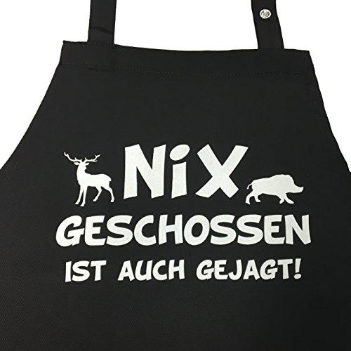 Nix geschossen ist auch gejagt - Grillschürze, Kochschürze, Küchenschürze, Latzschürze mit verstellbarem Nackenband und Seitentasche - Geschenkidee für Jäger Geschenk Jagd Schützenkönig