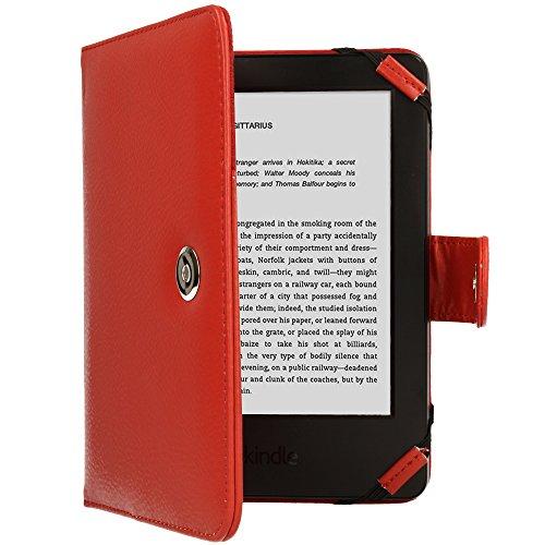TECHGEAR Hülle für Amazon Kindle eReader, Kindle Paperwhite - Folio-Hülle aus PU-Leder mit Magnetverschluss passt Kindle eReader (6,0 zoll) [4 bis 9 alle Generationen] Case mit Bildschirmschutz -Rot -