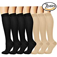 3/7 Pares Rodilla Alta Calcetines de compresión graduada para Mujeres y Hombres (7 pairs(Assort 6), L/XL)