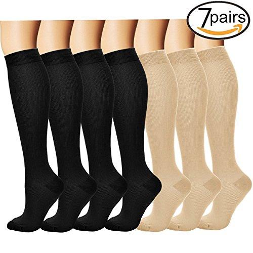 3/7 Pares Rodilla Alta Calcetines de compresión graduada para Mujeres y Hombres (7 pairs(Assort 6), S/M)