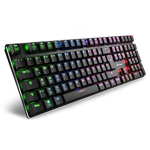 Sharkoon PureWriter RGB Mechanische Low Profile-Tastatur (RGB Beleuchtung, blaue Schalter, flache Tasten, Beleuchtungseffekte, abnehmbarem USB Kabel) schwarz
