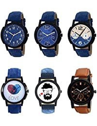 NEUTRON Treading 3D Design Love Beard Style Black Blue And Brown Color 6 Watch Combo (B8-B9-B10-B11-B12-B31) For...