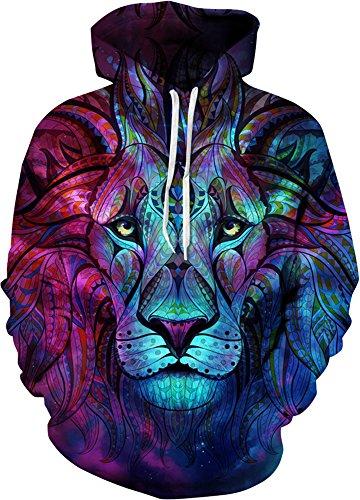 YuanYan Herren Lose Fit Hoodie - Langarm 3D Druck Muster Kapuzenpullover Sweatshirt Pullover Oversize für Herbst und Winter Himmel Löwe