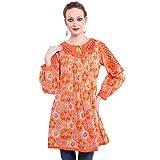 TUNTUK Women's Sapphire Tunic Orange Cot...