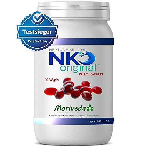 NKO Krillöl Kapseln (Testsieger) 30, 90 oder 180 Stück in Apothekenqualität von MoriVeda - Omega 3,6,9 Astaxanthin, Vitamin E, Choline, Phospholipide, Krill Öl (90 Softgel Kapseln)