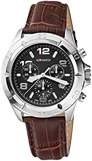 M-Watch Drive 42 Mens Leather Watch Black Display (WBD.16420.LG): This Chronograph and Pilot Watch for Men is