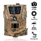 MTFY Wildkamera Fotofalle 12MP 1080P Infrarot Nachtsicht Beutekameras mit 20m/65ft 120° Weitwinkel, 0.3s Triggerzeit Zeitraffer Überwachungskamera, IP65 Wasserdicht Jagdkamera für die Jagd und Heimtraining