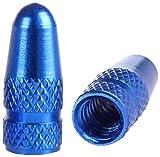 PRESKIN 2 er Set Presta Blau Fahrrad-Ventilkappen aus Aluminium eloxiert, Valve Caps für französische Ventile