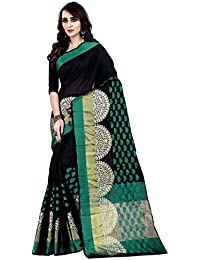 Jashvi Creation Women's Cotton Silk Saree With Blouse Piece (Black_008_ New Collection_Saree_Sari_/Sadi)