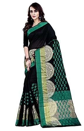 Jashvi Creation Women's Cotton Silk Saree With Blouse Piece (Black_008_ New Collection_Saree_Sari_/Sadi)