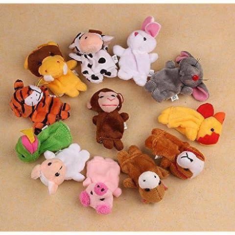 Fortan 12Pcs Chinese Zodiac morbido animale dito fantoccio giocattoli di peluche Giocattoli
