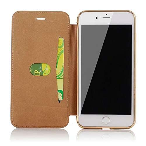 iPhone 7 Plus Cover, iPhone 7 Plus Custodia (5.5 inch), Bonice Creativo [Shock-Absorption] [Anti Scratch] Premium Ultra Thin Portafoglio Trasparente Placcatura TPU Case Cover + PC Pelle Flip Case Cove model 04