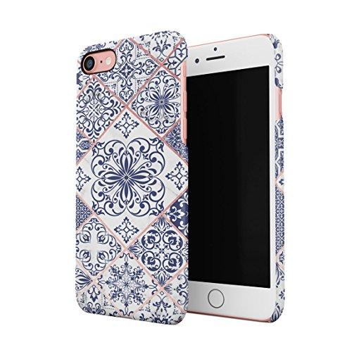 Light Blue Moroccan Ornaments Mosaic On White Marble Dünne Rückschale aus Hartplastik für iPhone 7 & iPhone 8 Handy Hülle Schutzhülle Slim Fit Case Cover