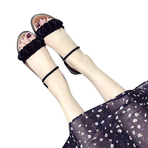 WINWINTOM Flip Flops Damen Sale Erwachsene Dusch Badeschuhe Frauen Fashion Solid Flower Round Toe Flache Ferse Sandalen Slipper Strand Schuhe Schwarz 36