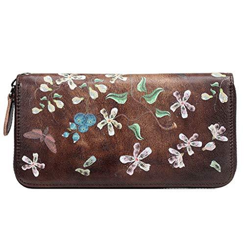 Dream Tissa Damen lange Abschnitt Wallet Card Package Vintage geprägtes Leder Clutch (Color : C, Size : 19 * 2.5 * 10)