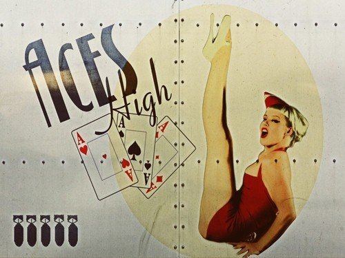 aces-high-metal-sign-ww-ii-airplane-nose-art-pinup-girl-vintage-mancave-decor-by-omsc